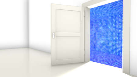 Open door in a wall leading to a hallway with glowing blue random letter 3d encryption concept illustration