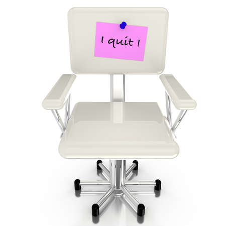 resign: White office chair with pink resignation notice Stock Photo