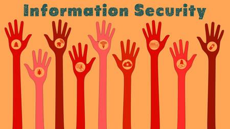 Información de amenazas a la seguridad concepto de ilustración con la mano roja y los iconos de amenaza