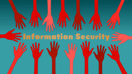 steal: Information security threats concept illustration with red hands reaching out to steal the data Illustration