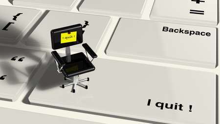 resign: Keyboard with little chair and the words i quit on the enter key closeup 3d render