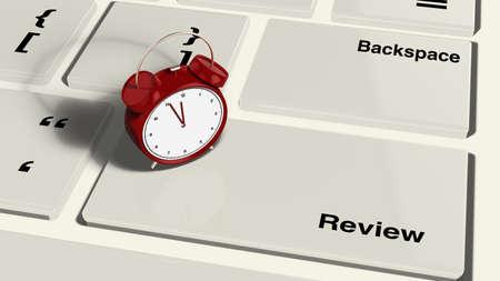 Tastatur mit einem Wecker auf die Review-Taste Nahaufnahme eingeben 3d render Standard-Bild