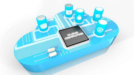 capacitor: Cloud with circuit board on top 3d render concept illustration