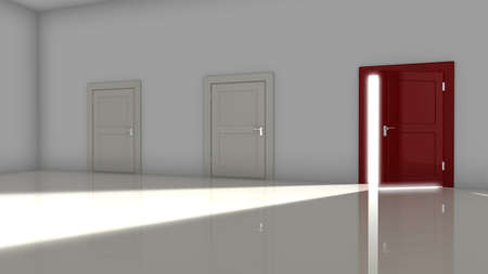 opportunity concept: A dark room with two white closed doors and one red on the right open with a glowing light shining in 3d render opportunity concept Stock Photo