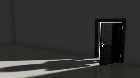 man standing alone: Black door opening in a dark room with a bright light falling in showing the shadow of a person