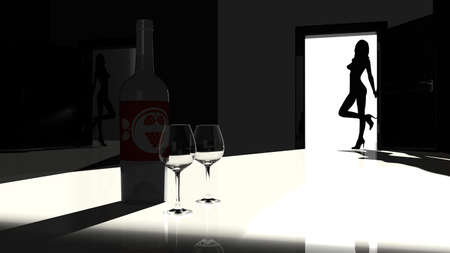 female stripper: Woman silhouette leaning at a door waiting to be invited in to have a glass of wine
