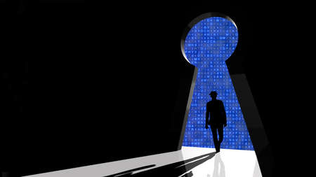 backdoor: Black hat hacker walks through keyhole shaped backdoor towards a random letter background 3d security concept Stock Photo