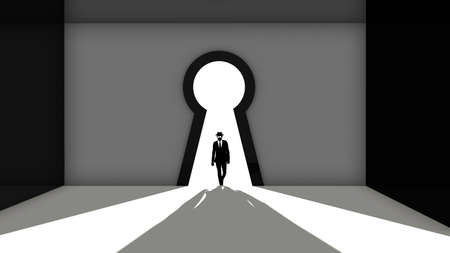 backdoor: Elite hacker entering a room through a keyhole silhouette 3d render backdoor concept illustration Stock Photo