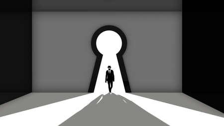 Elite hacker entering a room through a keyhole silhouette 3d render backdoor concept illustration Stock Photo