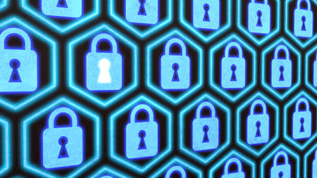 compromised: Hexagon locks security concept security concept on a wall with blue padlocks in a row composed in hexagons Stock Photo