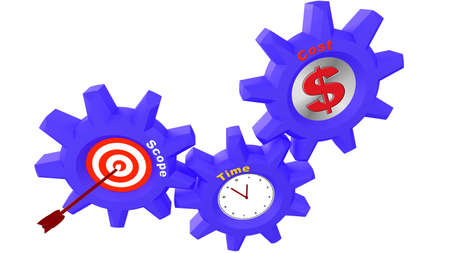 constraint: Three cogs with project management components time,cost and scope relationship 3d render concept illustration