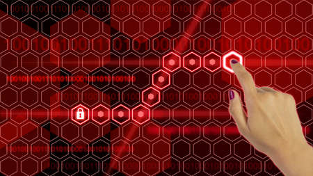 compromised: Lock security concept with a red hexagon grid and a padlock activated by a press of a womans hand