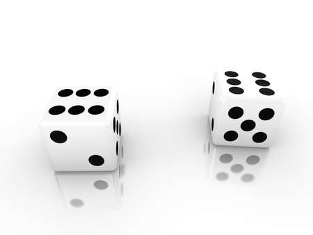 double the chances: Two dice in white both with six up 3d render luck concept Stock Photo