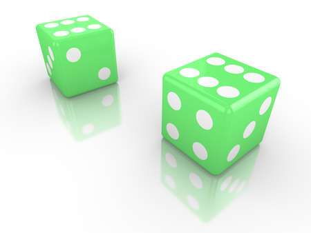 double the chances: Two dice in green both with six up  3d render luck concept