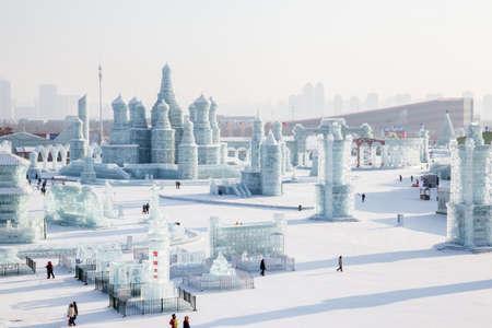 ハルビン、中国都市ロシア スタイル ハルビン氷祭りで氷の 20160121
