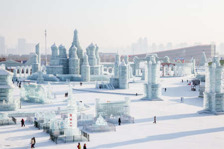 Harbin, China 01/21/2016 Ice city russian style at the ice festival in Harbin Editorial