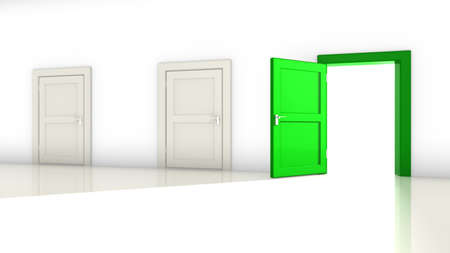 opportunity concept: A room with two white closed doors and one green on the right open with a bright light shining in 3D illustration opportunity concept Stock Photo