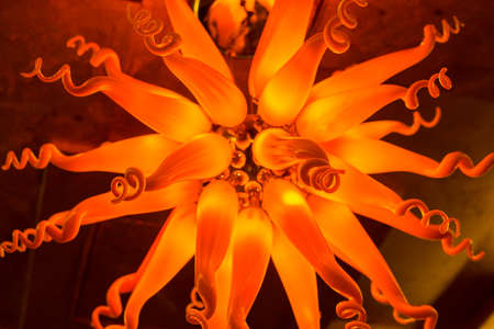 gloom: Gloomy flower style lamp background in orange made from glass Stock Photo