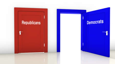 republicans: 3D illustration of the election in the USA with a red close door for the republicans and a blue open door for the democrats Stock Photo