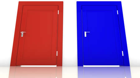 republicans: 3D illustration of the election in the USA with a red closed door for the republicans and a blue closed door for the democrats