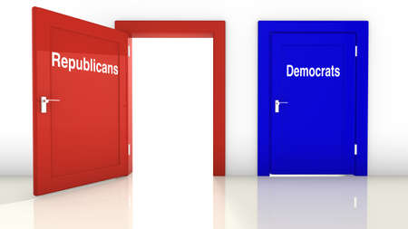 democrats: 3D illustration of the election in the USA with a red open door for the republicans and a blue closed door for the democrats Stock Photo