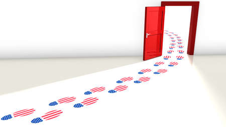 republicans: 3D illustration of the election in the USA with a red open door for the republicans and and a track of footsteps with an american flag texture leading through it