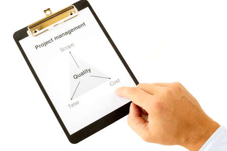 constraint: Project management triangle on a white paper in a black clipboard with a hand tapping under costs