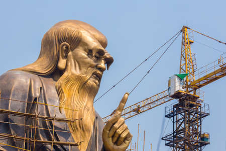 creator: Laoshan,China 21042016 A huge 36m statue of the spiritual creator of Daoism Laozi under construction Editorial