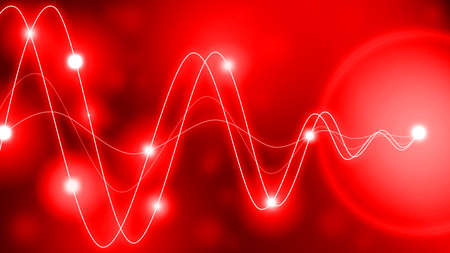 amplitude: Red waveforms of different amplitude converting to a single point with glowing dots along the waves