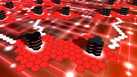 Hexagon supercomputer network on red with white nodes and hexagon shaped islands with data centers in black 3D illustration Standard-Bild