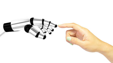 human touch: Robotic hand pointing at womans hand nearly touching each other machine human interaction concept 3D illustration