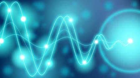 amplitude: Turquoise waveforms of different amplitude converting to a single point with glowing dots along the waves
