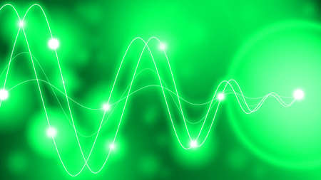 amplitude: Green waveforms of different amplitude converting to a single point with glowing dots along the waves Stock Photo