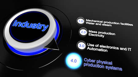 revolutions: Industry 4.0 concept 3D illustration infographic rotary knob with industrial revolutions Stock Photo