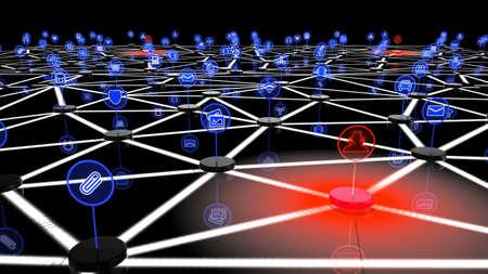 Rete di internet delle cose attaccato da hacker su un nodo, una illustrazione 3D che mostra podests nere con simboli che sono interconnessi e tre piattaforme rosse con i simboli degli hacker che emette un virus rosso