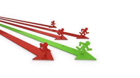 green it: Four red and one green arrow with runners on it, the leading green one is the winner of the performance race 3D illustration Stock Photo