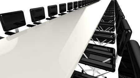 conference table: Very long conference table in white with black chairs