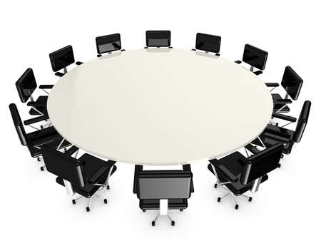 conference table: Round white conference table with 12 black office armchairs on white 3D illustration Stock Photo