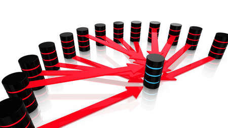 3D illustration of multiple malicious servers in red attacking one server in blue denial of service concept