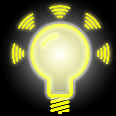 emit: Glowing lightbulb in yellow on black emitting data LiFi concept illustration symbol