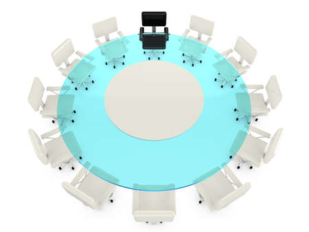 armchairs: Round glass conference table with 11 white office armchairs and one black chair for the leader on white 3D illustration