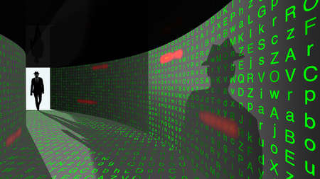 A silhouette of a hacker with a black hat in a suit enters a hallway with walls textured with random letters and common passwords 3D illustration cybersecurity concept Stock Photo