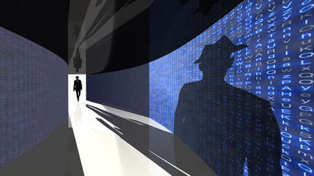 A silhouette of a hacker with a black hat in a suit enters a hallway with walls textured with random letters 3D illustration backdoor concept Standard-Bild