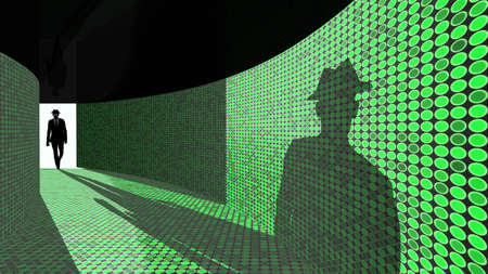 backdoor: A silhouette of a hacker with a black hat in a suit enters a hallway with walls textured with green dots 3D illustration backdoor concept Stock Photo