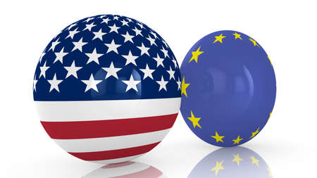 discs: 3D illustration of two discs, one with the american flag, one with the european union flag on white friendship concept