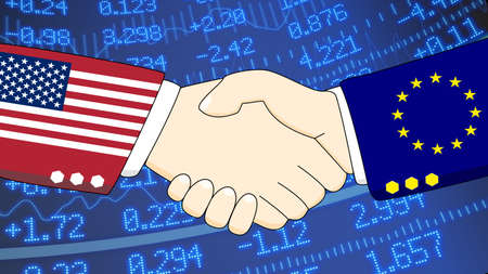 diplomats: Handshake illustration between two diplomats, one with a suit with USA texture, one with the european flag texture in front of a stock exchange wall Stock Photo