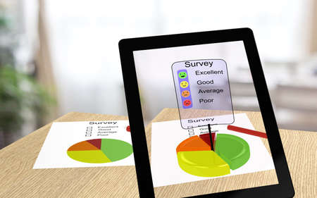 enabling: 3D illustration of augmented reality with a tablet pointing an a survey paper enabling the user to take the survey online Stock Photo