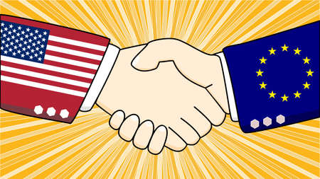 negotiate: Handshake illustration between two diplomats, one with a suit with USA texture, one with the european flag texture