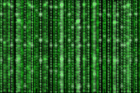 ones: Green digital background zeros and ones raining down with some digits glowing