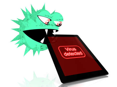 bites: Green virus bites into a digital tablet with the words virus detected on the screen 3D illustration